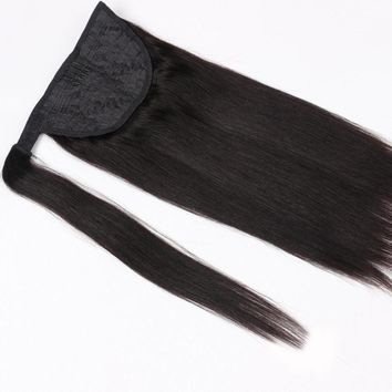 Human Hair Remy Straight Ponytail Clip in Extensions