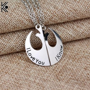 Star Wars Rebel Insignia Lovers' Couple Necklace,The Antique Silver I love you I know Lovers Pendant Handwriting J