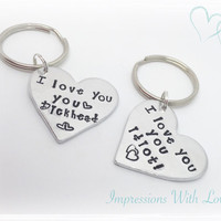 Hand stamped heart shaped i love you, you idiot keyring key chain valentines day gift love hate couples funny novelty, girlfriend/boyfriend