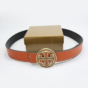 TORY BURCH Men Woman Fashion Smooth Buckle Belt Leather Belt-2