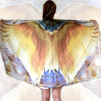 ARCHANGEL Wing Scarf • Sheer Silk Angel Wing Shawl • Handmade Boho Chic Spiritual New Age Wearable Art Silk Scarf • Chic Gift For Wife