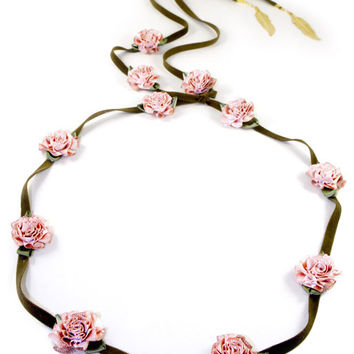 Light Pink Marigold/Brown Suede Band
