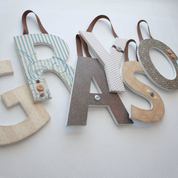 Custom 8 INCH Hanging Wooden Nursery Letters- Grayson's Theme - coord. with Taupe Suzani Bedding by Carousel