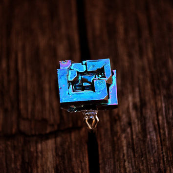 Ring Celtic Window  Iridescent Bismuth Metal Crystal by Element83