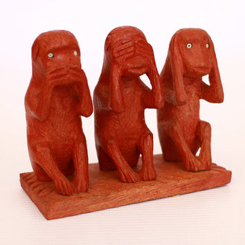 Exclusive monkey Figurine (3 units in horisontal)  -Mahogany  colored wood  carved from old Sri Lanka technology.