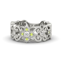 Platinum Ring with White Sapphire & Peridot