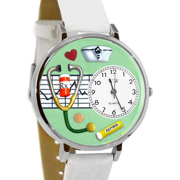 Whimsical Watches Designed Painted Nurse Green White Skin Leather And Silvertone Watch