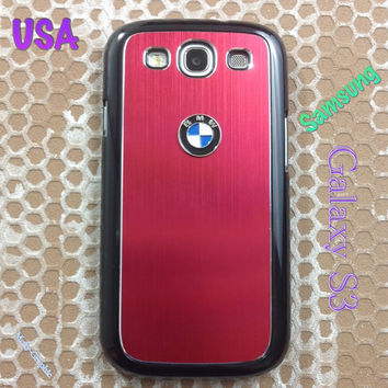 BMW Samsung Galaxy S3 Case BMW 3D Metal Car Logo with Aluminum Cover for S3 / i9300 - F1 Red