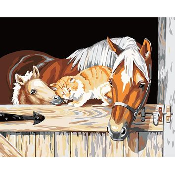 Home decor wall art  decorative pictures for living room painting by numbers diy oil canvas paint Coloring Horse and cat OP46