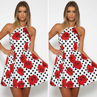 Summer Women's Fashion Red Floral Print Backless One Piece Dress [6343455937]