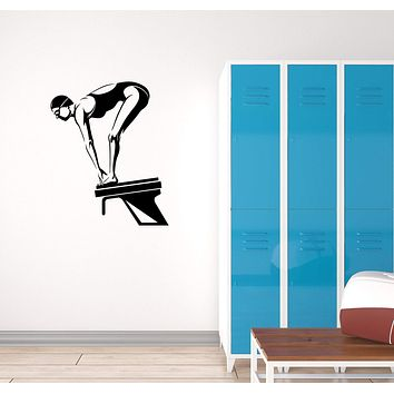 Vinyl Decal Swimmer Swimming Pool Wall Sticker Mural Sport Woman Unique Gift (g076)