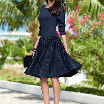 Pleated fit and flare dress