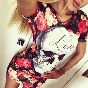 2017 Print Skull Love Red Flower Floral Dress Women Sexy Sheath Short Sleeve Wrap Bodycon Dress Casual Mini T Shirt Summer Dress