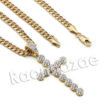 Lab diamond Micro Pave Cole Jesus Cross Pendant w/ Miami Cuban Chain BR108