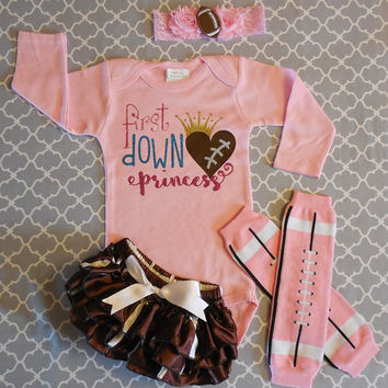 Infant Girl Football Outfit, Baby Girl Football Bodysuit, Daddys Football Princess Outfit, Girl Sport Bodysuit Set, Girls Football Touchdown