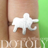 Adjustable Elephant Animal Outline Ring in Silver - Allergy Free