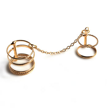 """""""Connected"""" Gold Two Finger Midi Ring"""