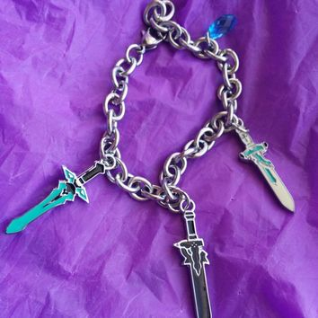 Sword Art Online Inspired Charm Bracelet Kirito Swords Elucidator Dark Repulser, Asuna Lament Light, Yui's heart Crystal 8 inch Brac