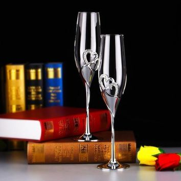 200 ML Crystal Champagne Glasses for Wine Whiskey Beer Drink,wedding Glassware,stainless Steel Flute for Bride and Groom Coupes