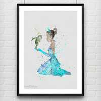 Princess Tiana Poster, Disney The Princess and the Frog Watercolor Art Print, Baby Nursery Wall Art, Not Framed, Buy 2 Get 1 Free! [No. 74]