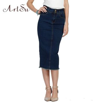 ArtSu Denim Skirt Women Blue Basic High Waist Pencil Skinny Skirts Plus Size S-3XL Ladies Office Jeans Faldas Clothes ASSK50010