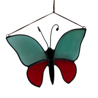 Vintage Red & Blue Stained Glass Butterfly Suncatcher