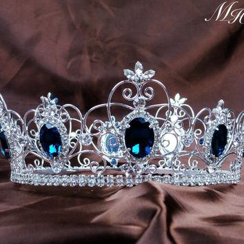 "Blue Crystal King Prince Tiaras Crowns 3.5"" Unisex Full Round Hair Jewelry Clear Rhinestone Pageant Party Costumes Art Deco"
