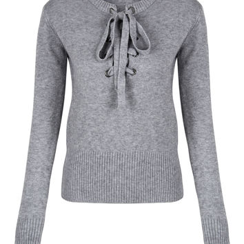 Grey V-neck Tie Up Front Knitted Sweater