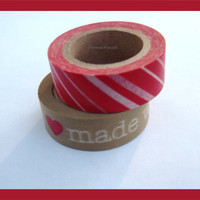 Set of 2 WASHI TAPES - Made With Love, Brown Kraft Paper, Red Hearts, Chevron Craft Supplies, Crafting, Scrapbooking, packaging