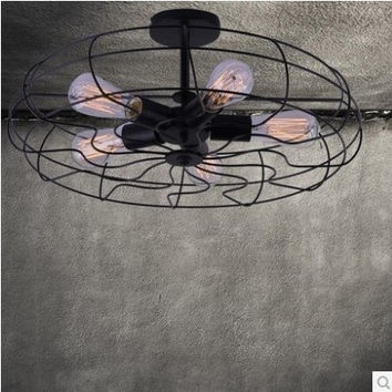 5 light edison retro creative fan ceiling lamp light for dinning room balcony and bedroom