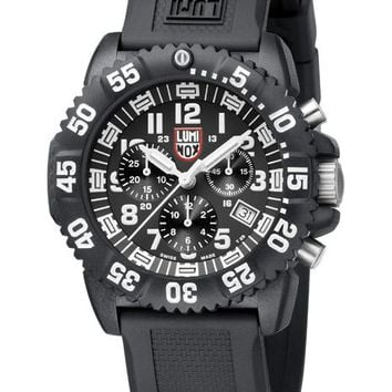 Luminox Mens Colormark Chrono - Black Dial - Black Rubber Strap - Subdials