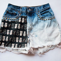 Vintage Levi High Waist Ombre Cat Print Studded Distressed Denim Cut Off Shorts