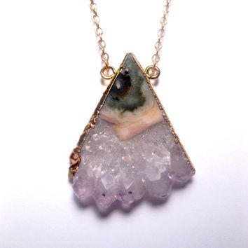 Huge Spring Sale 24k Gold Artic Raw Amethyst Triangle Slice Stalactite Necklace