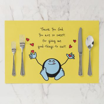 Blue Emoji Children's Meal Prayer Paper Placemat