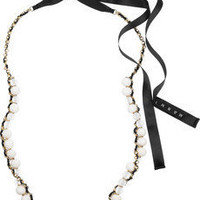 Marni | Beaded chain and ribbon necklace | NET-A-PORTER.COM