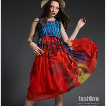 Painted Print Sleeveless Drawstring Chiffon Dress