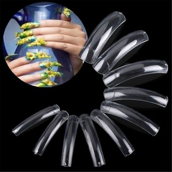 500Pcs Clear French Acrylic Extra Long False Manicure UV Gel Polish Nail Art Beauty Tips For Salon DIY Tools