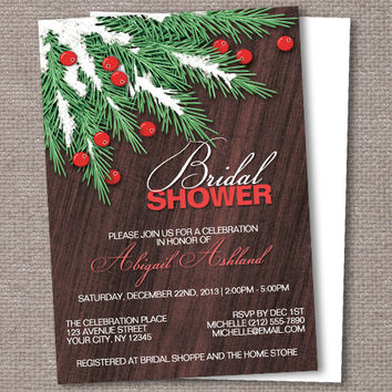Winter Pine Boughs and Cranberries Rustic Bridal Shower Invitations - Printed or Printable