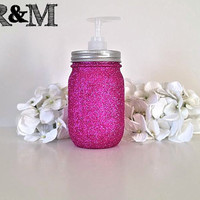 Housewares, mason jar soap dispenser, home decor, bathroom decor, bathroom accessories, bathroom organizer, pink glitter, soap dish