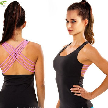 Dry Fit Black Fitness Shirt Strappy Back
