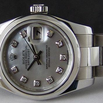 ROLEX - Ladies Stainless 26mm DateJust Mother of Pearl Diamond 179160 SANT BLANC