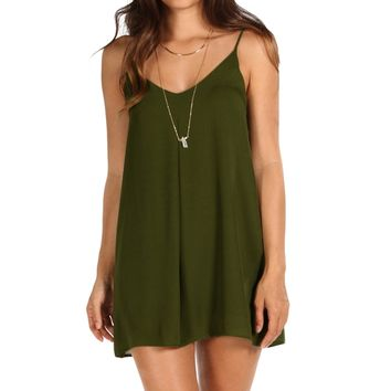 Olive V Neck Slip Dress