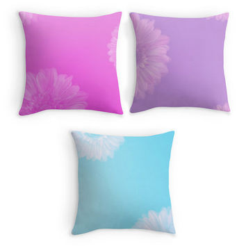 Flower Throw Pillow, Pale Pastel Scatter Cushion, 16x16 Cushion Cushion