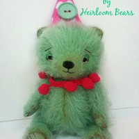Cute handmade OOAK Kawaii mohair artist teddy bear called 'Pippa Mint' fully jointed.