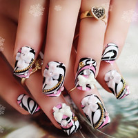 24 PCS Multi-color Floral Bow Bead and Rhinestone Design Nail Art