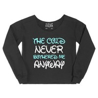The Cold Never Bothered Me Anyway-Female Black Hoodie