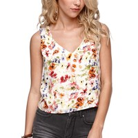 LA Hearts Heart Back Floral Tank - Womens Shirts - Floral - Medium