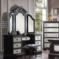 3 pc Athena Silver collection espresso finish wood and antiqued mirror detail bedroom make up vanity