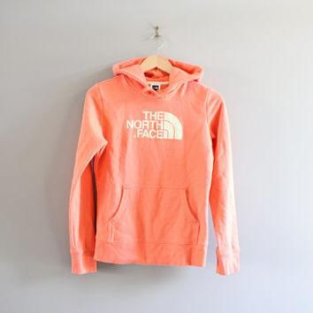 North Face Hoodie Pastel Orange Big Logo Sweatshirt Fleece Lining Hoodie Grunge Jacke