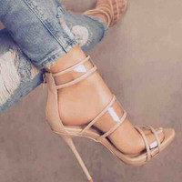 Stylish Design Summer Peep Toe Style Sexy Transparent High Heel Sandals [10956069711]
